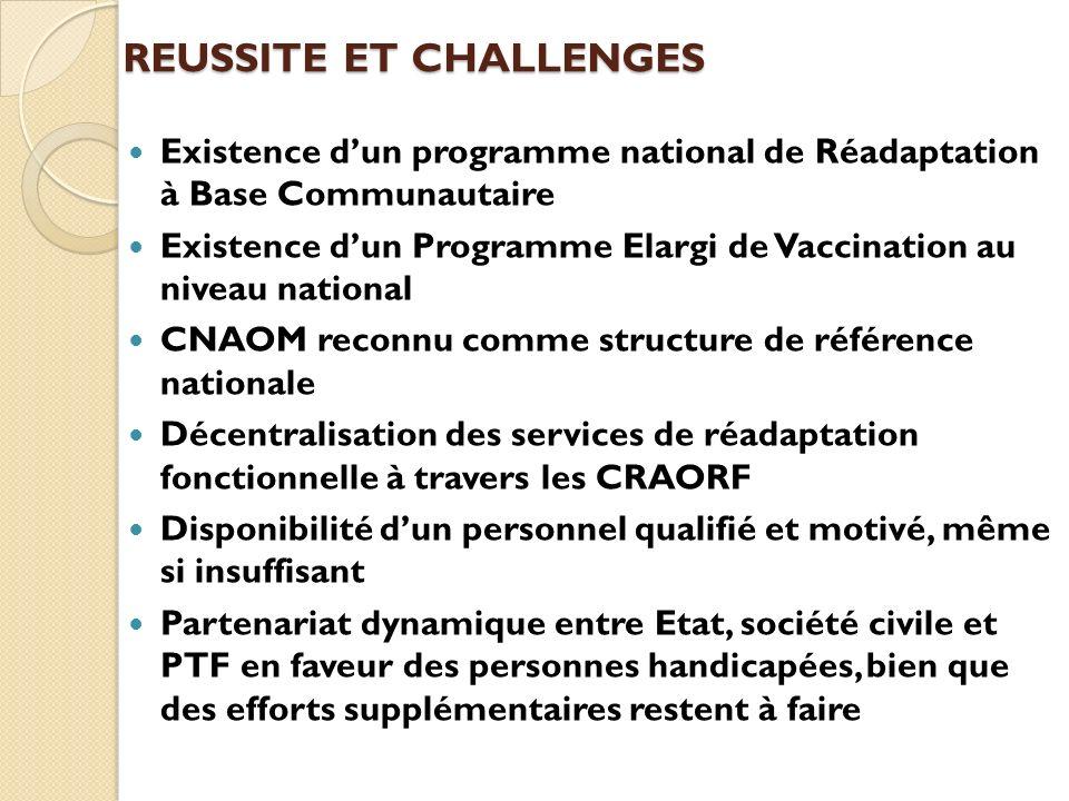 REUSSITE ET CHALLENGES Existence dun programme national de Réadaptation à Base Communautaire Existence dun Programme Elargi de Vaccination au niveau n