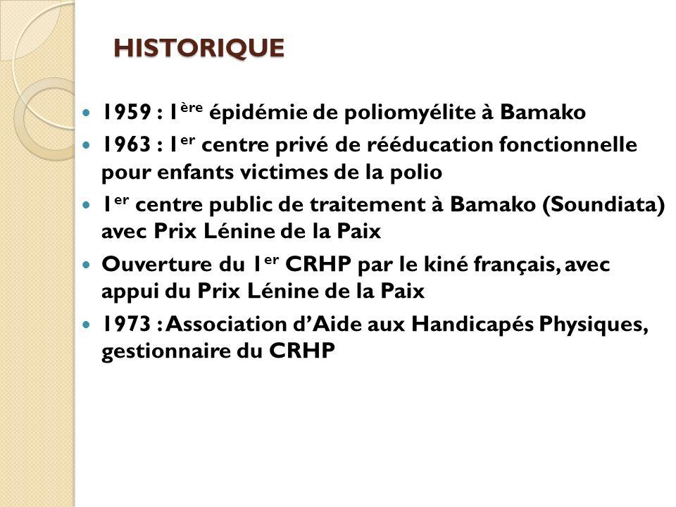 HISTORIQUE 1959 : 1 ère épidémie de poliomyélite à Bamako 1963 : 1 er centre privé de rééducation fonctionnelle pour enfants victimes de la polio 1 er