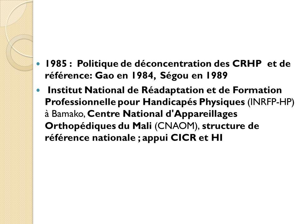 1985 : Politique de déconcentration des CRHP et de référence: Gao en 1984, Ségou en 1989 Institut National de Réadaptation et de Formation Professionn