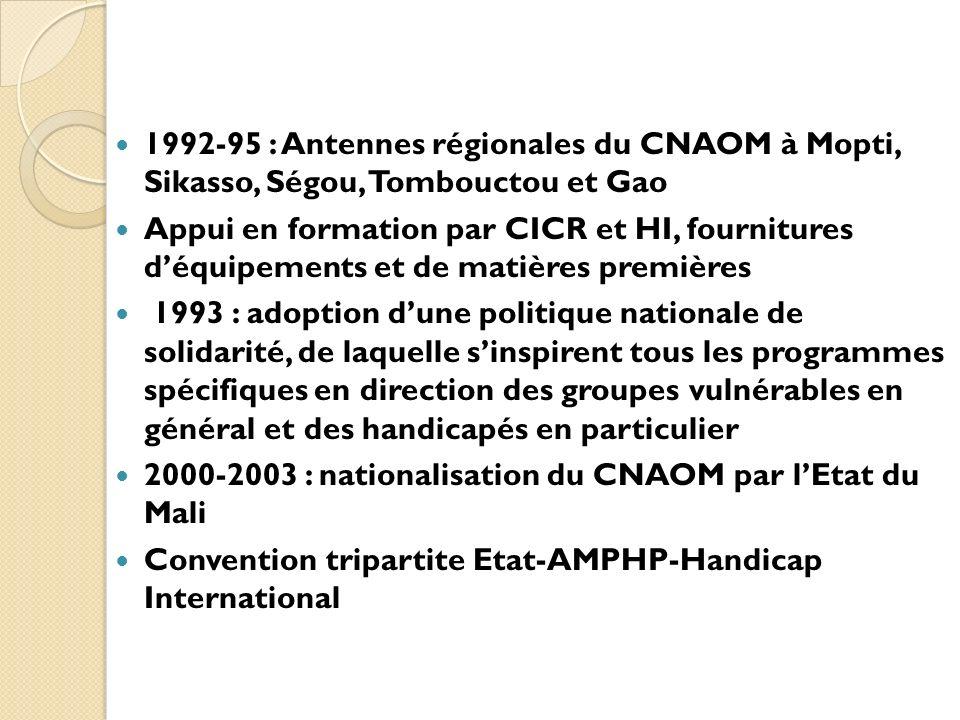 1992-95 : Antennes régionales du CNAOM à Mopti, Sikasso, Ségou, Tombouctou et Gao Appui en formation par CICR et HI, fournitures déquipements et de ma