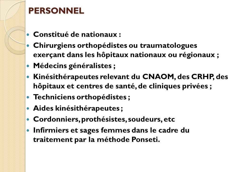 PERSONNEL Constitué de nationaux : Chirurgiens orthopédistes ou traumatologues exerçant dans les hôpitaux nationaux ou régionaux ; Médecins généralist