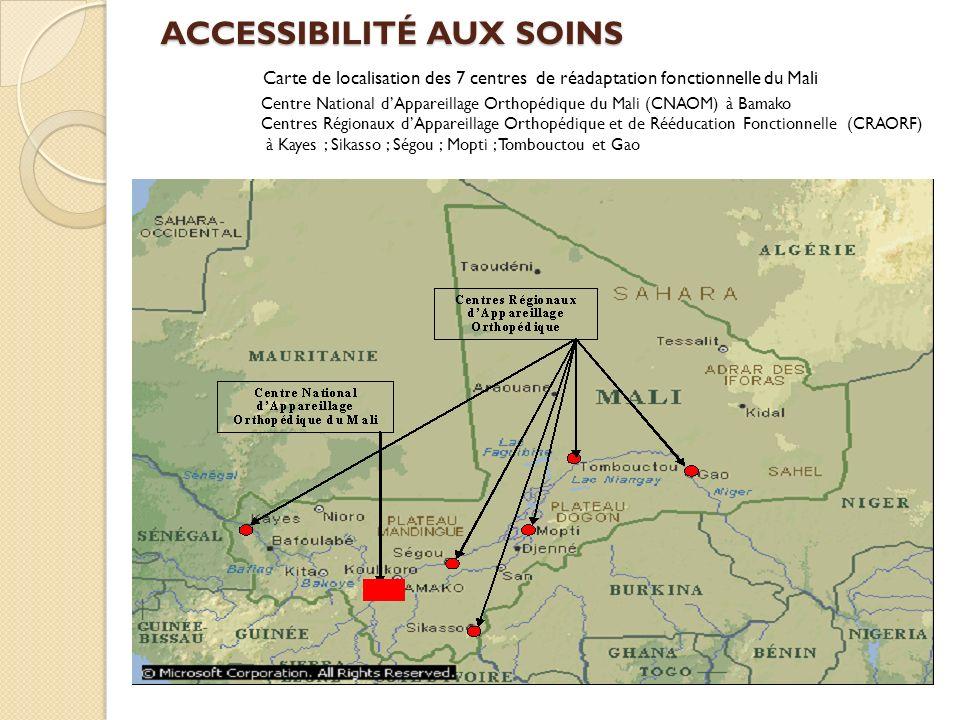 ACCESSIBILITÉ AUX SOINS ACCESSIBILITÉ AUX SOINS Carte de localisation des 7 centres de réadaptation fonctionnelle du Mali Centre National dAppareillag