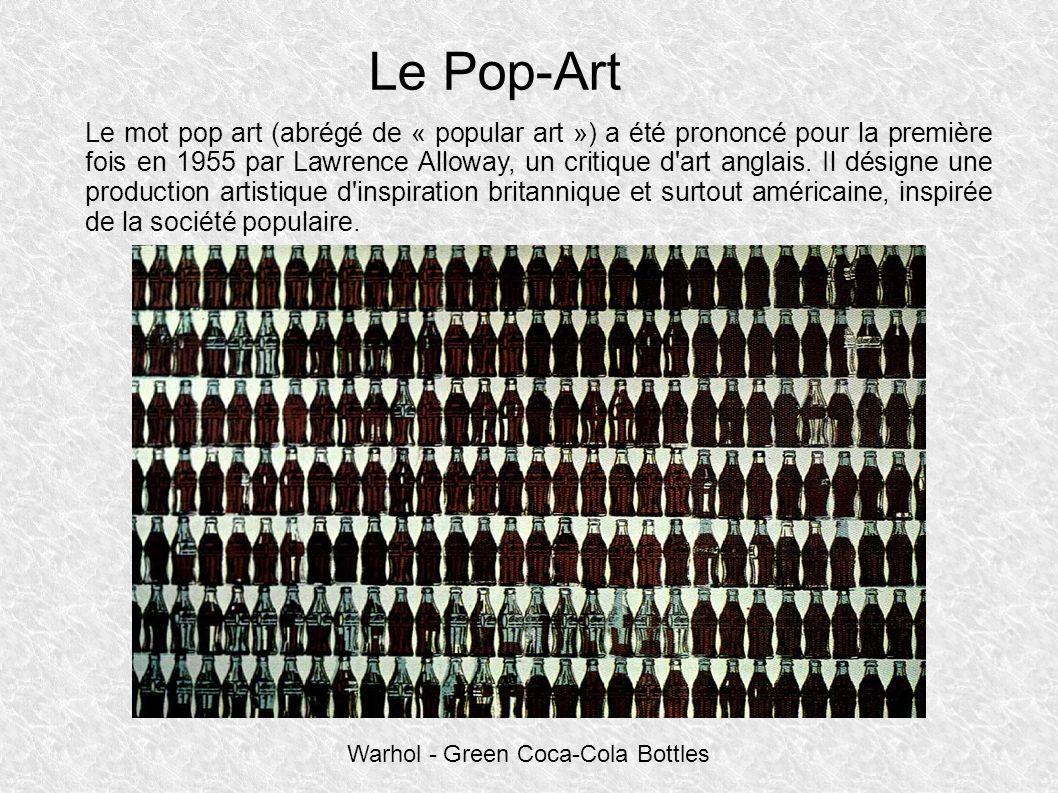 Le Pop-Art Le mot pop art (abrégé de « popular art ») a été prononcé pour la première fois en 1955 par Lawrence Alloway, un critique d art anglais.