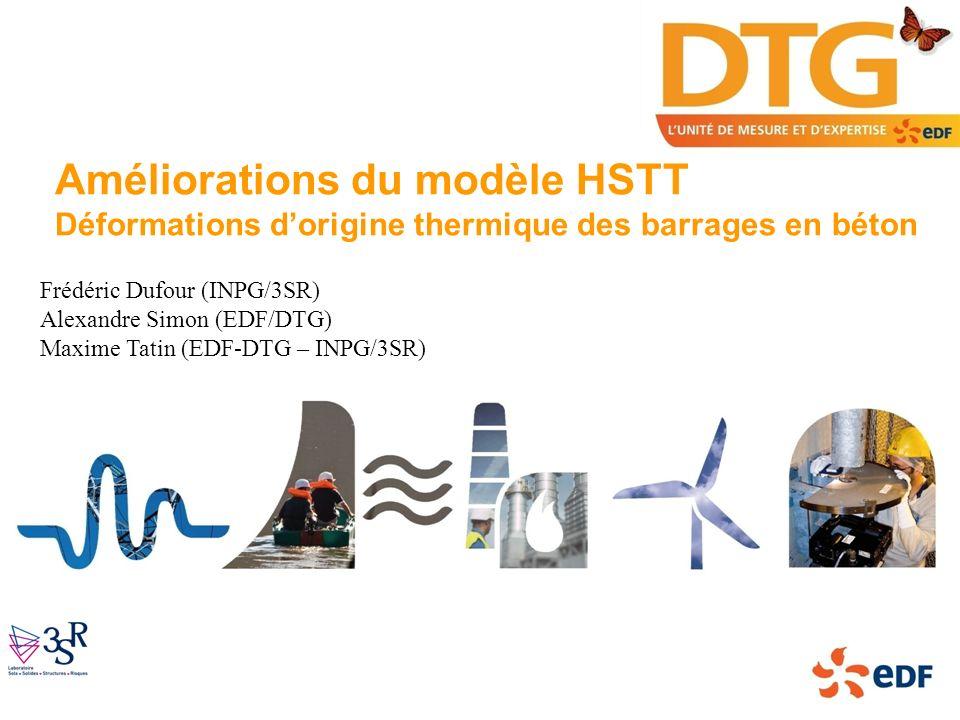Améliorations du modèle HSTT Déformations dorigine thermique des barrages en béton Frédéric Dufour (INPG/3SR) Alexandre Simon (EDF/DTG) Maxime Tatin (