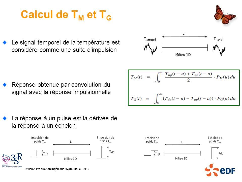 Division Production Ingénierie Hydraulique - DTG Calcul de T M et T G Le signal temporel de la température est considéré comme une suite dimpulsion Ré