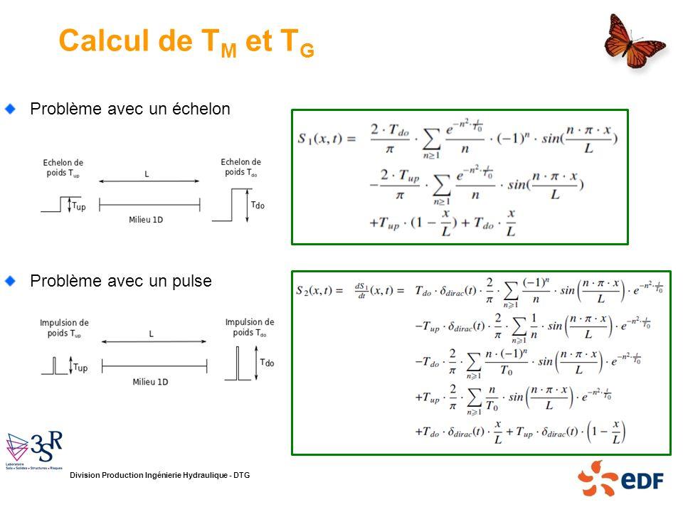 Division Production Ingénierie Hydraulique - DTG Calcul de T M et T G Problème avec un échelon Problème avec un pulse