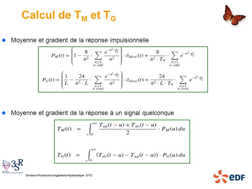 Division Production Ingénierie Hydraulique - DTG Calcul de T M et T G Moyenne et gradient de la réponse impulsionnelle Moyenne et gradient de la répon