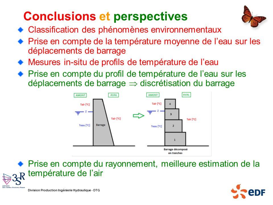 Division Production Ingénierie Hydraulique - DTG Conclusions et perspectives Classification des phénomènes environnementaux Prise en compte de la temp