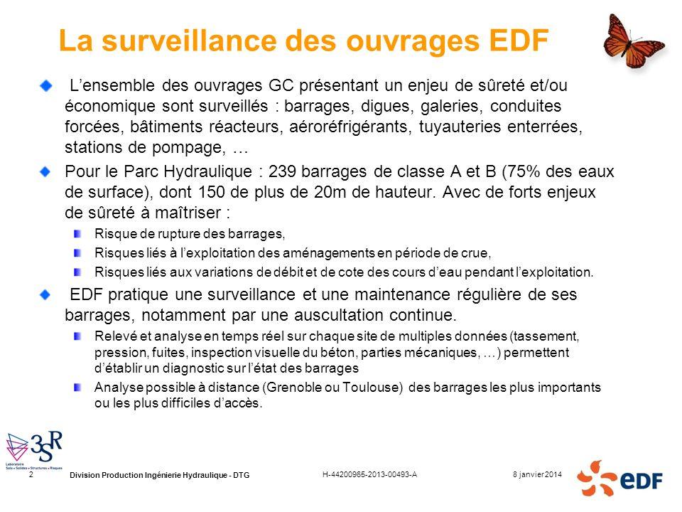 Division Production Ingénierie Hydraulique - DTG 8 janvier 2014H-44200965-2013-00493-A2 La surveillance des ouvrages EDF Lensemble des ouvrages GC pré