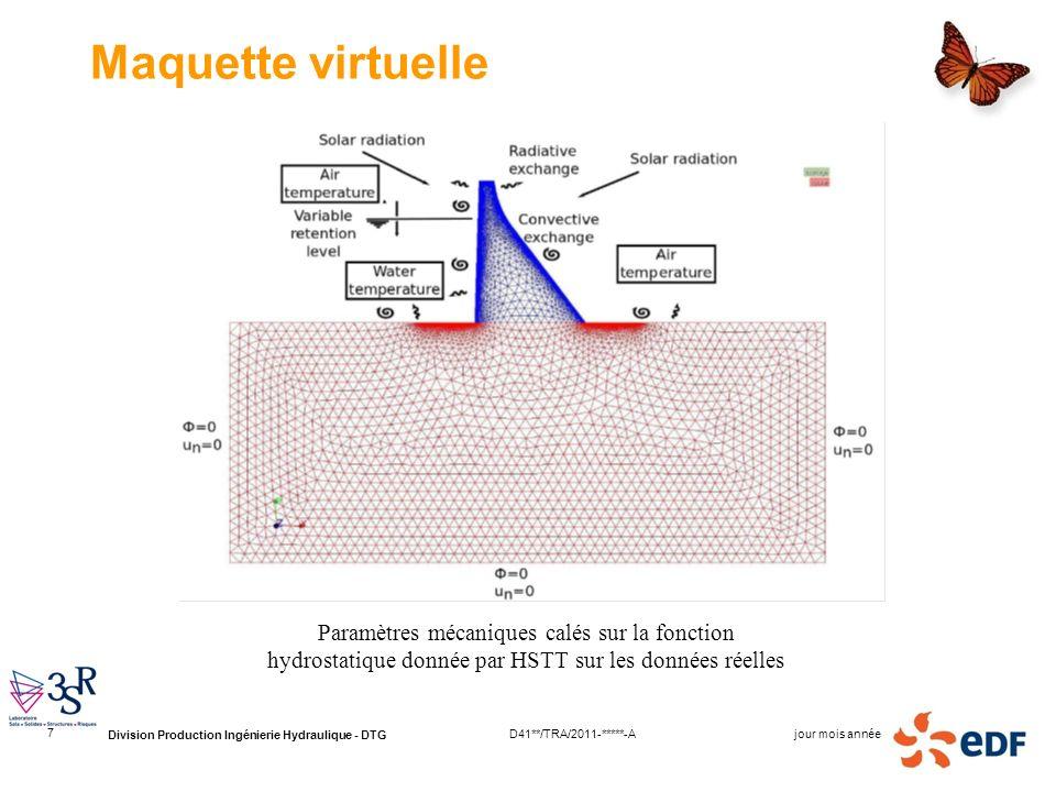 Division Production Ingénierie Hydraulique - DTG jour mois annéeD41**/TRA/2011-*****-A 7 Maquette virtuelle Paramètres mécaniques calés sur la fonctio