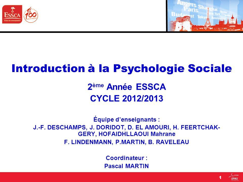 2 ème Année ESSCA CYCLE 2012/2013 Équipe denseignants : J.-F. DESCHAMPS, J. DORIDOT, D. EL AMOURI, H. FEERTCHAK- GERY, HOFAIDHLLAOUI Mahrane F. LINDEN