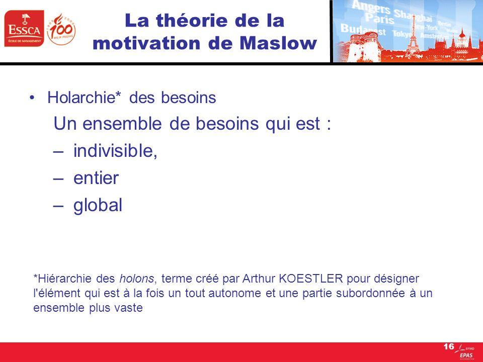16 La théorie de la motivation de Maslow Holarchie* des besoins Un ensemble de besoins qui est : – indivisible, – entier – global *Hiérarchie des holo