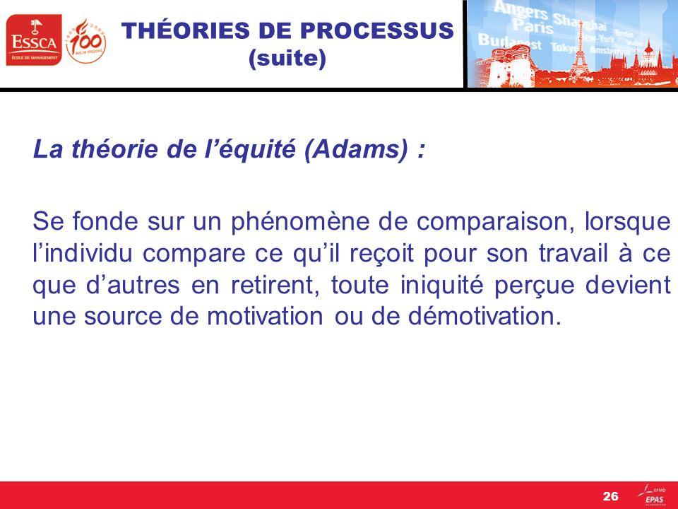 THÉORIES DE PROCESSUS (suite) La théorie de léquité (Adams) : Se fonde sur un phénomène de comparaison, lorsque lindividu compare ce quil reçoit pour