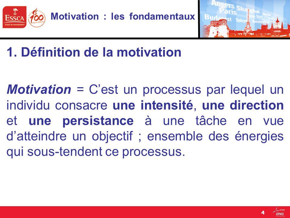 Motivation : les fondamentaux 1.Définition de la motivation Motivation = Cest un processus par lequel un individu consacre une intensité, une directio