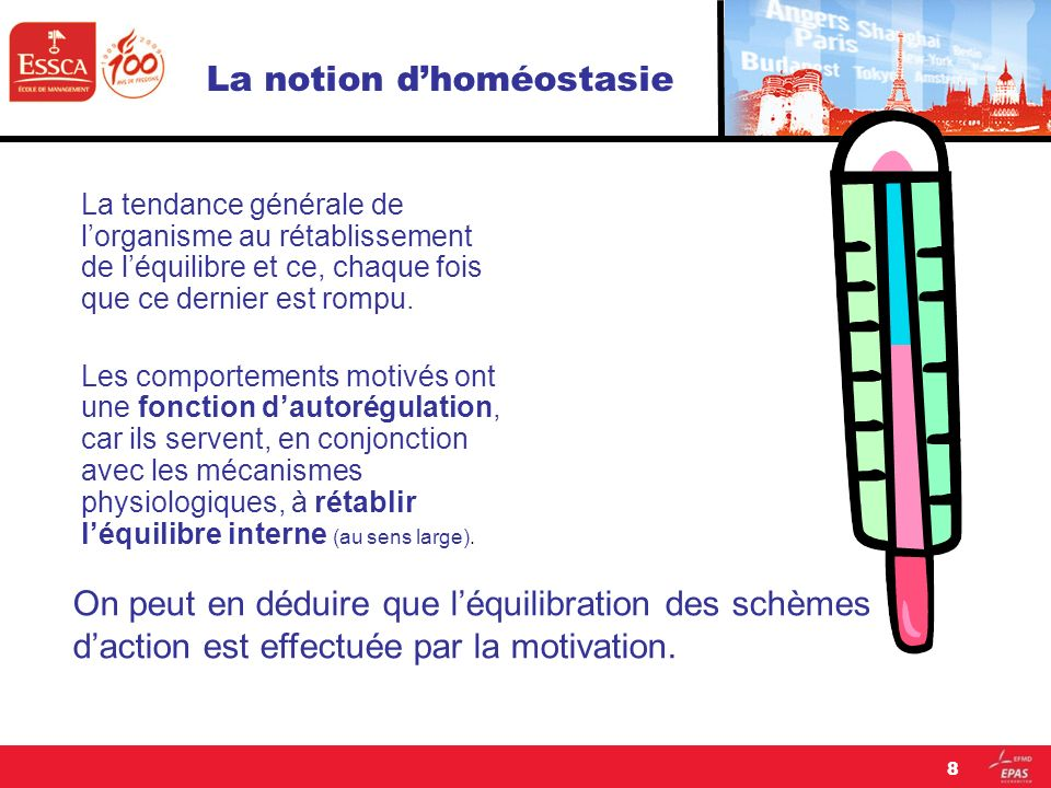 8 La notion dhoméostasie La tendance générale de lorganisme au rétablissement de léquilibre et ce, chaque fois que ce dernier est rompu. Les comportem