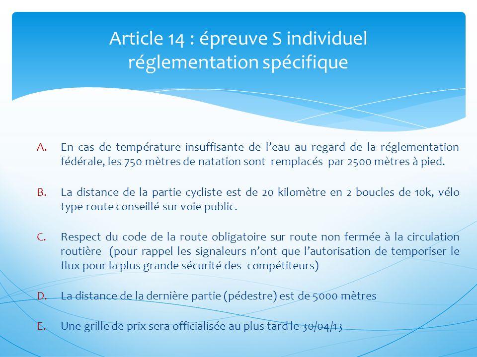 Article 14 : épreuve S individuel réglementation spécifique A.En cas de température insuffisante de leau au regard de la réglementation fédérale, les