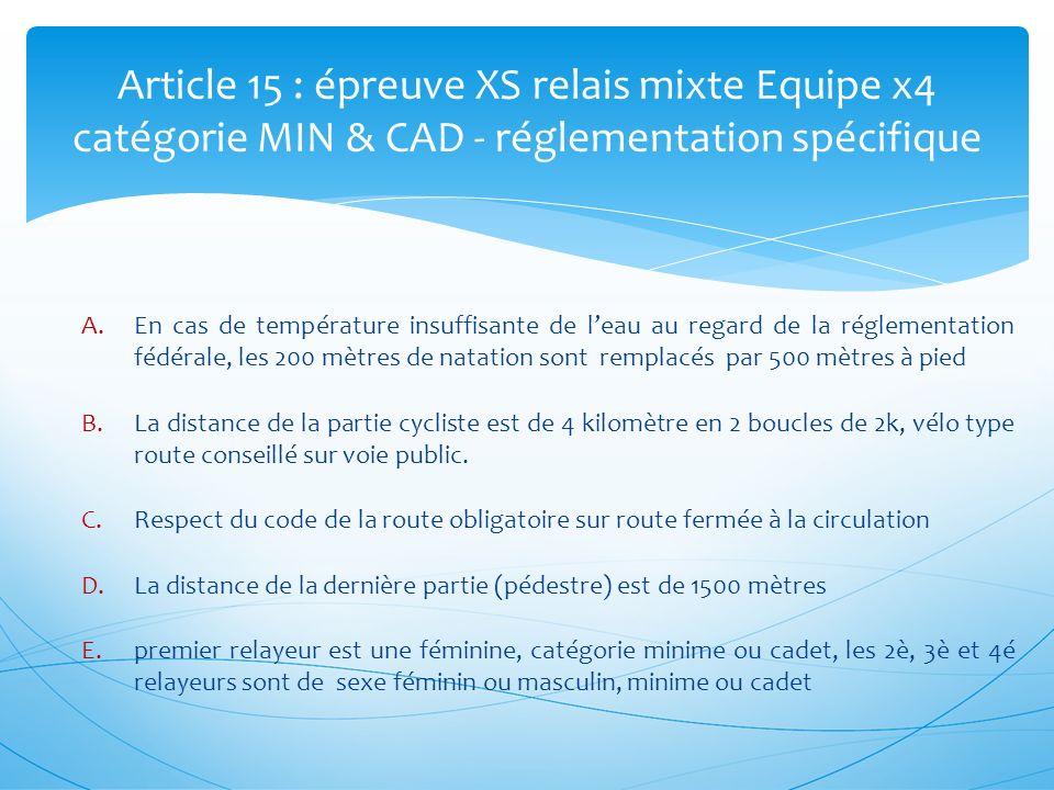 Article 15 : épreuve XS relais mixte Equipe x4 catégorie MIN & CAD - réglementation spécifique A.En cas de température insuffisante de leau au regard