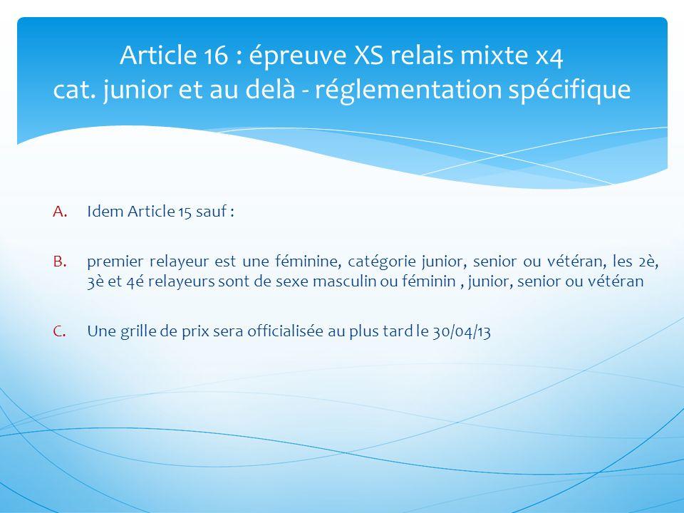 Article 16 : épreuve XS relais mixte x4 cat. junior et au delà - réglementation spécifique A.Idem Article 15 sauf : B.premier relayeur est une féminin