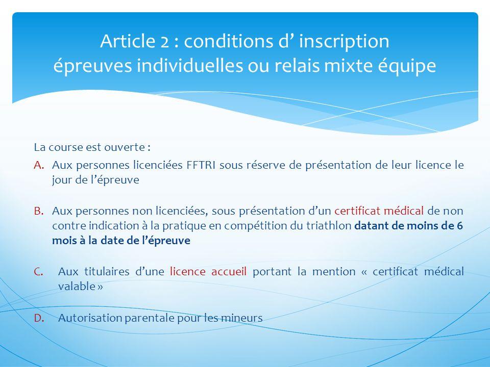 Article 13 : épreuve XS individuel réglementation spécifique A.En cas de température insuffisante de leau au regard de la réglementation fédérale, les 200 mètres de natation sont remplacés par 500 mètres à pied.