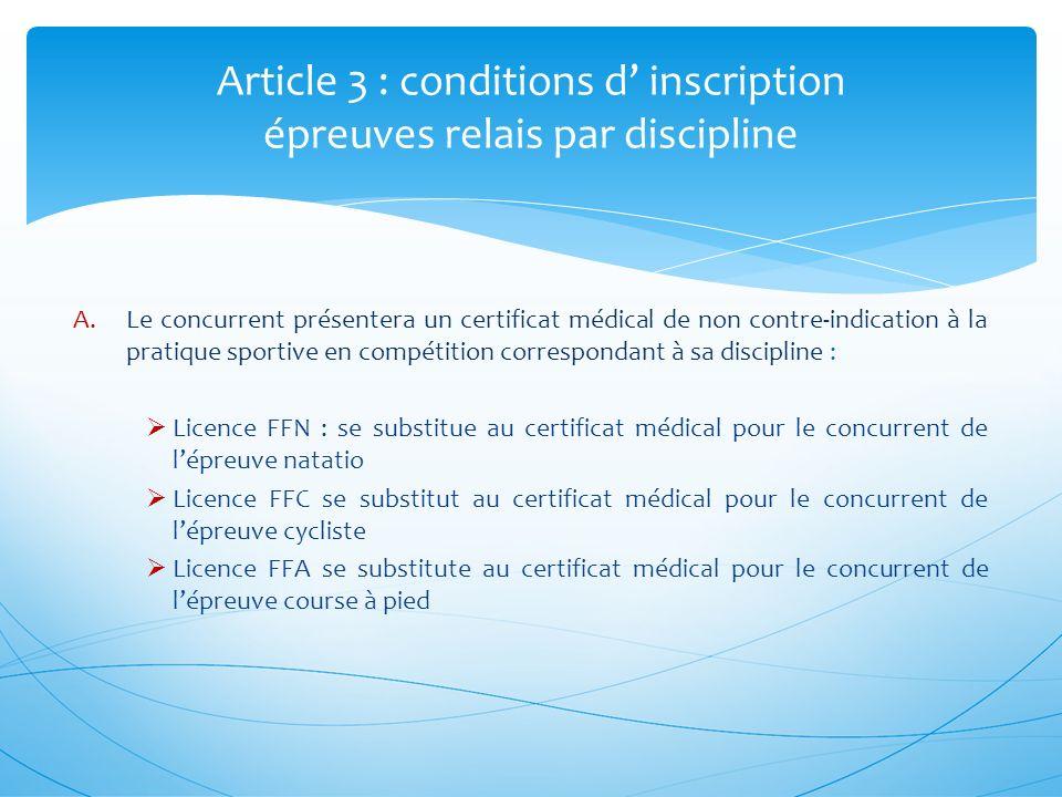 Article 14 : épreuve S individuel réglementation spécifique A.En cas de température insuffisante de leau au regard de la réglementation fédérale, les 750 mètres de natation sont remplacés par 2500 mètres à pied.
