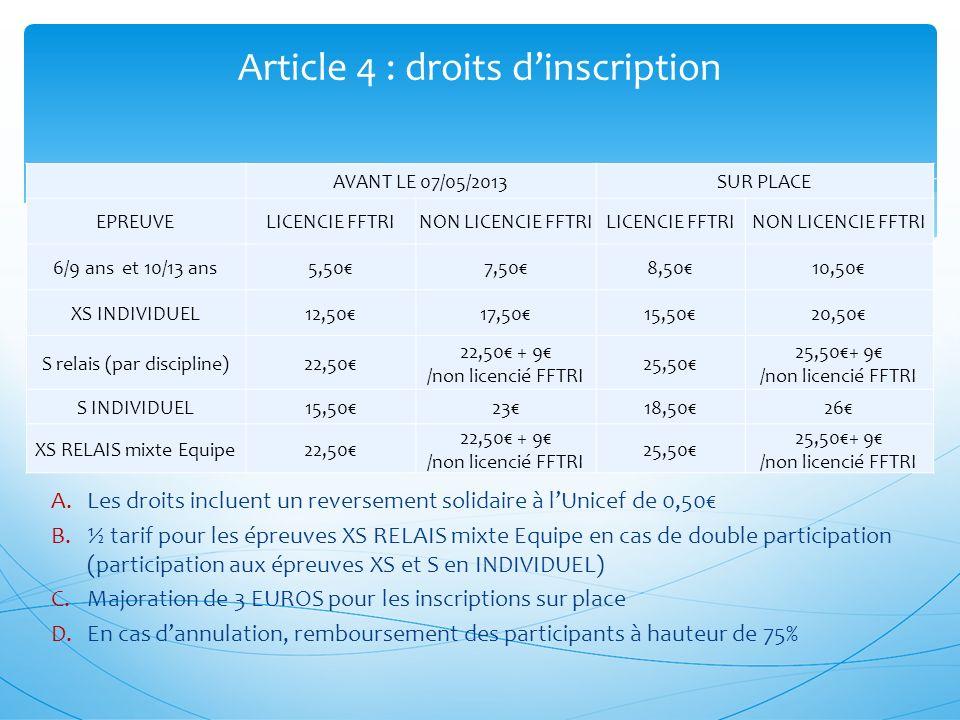A.Les droits incluent un reversement solidaire à lUnicef de 0,50 B.½ tarif pour les épreuves XS RELAIS mixte Equipe en cas de double participation (pa