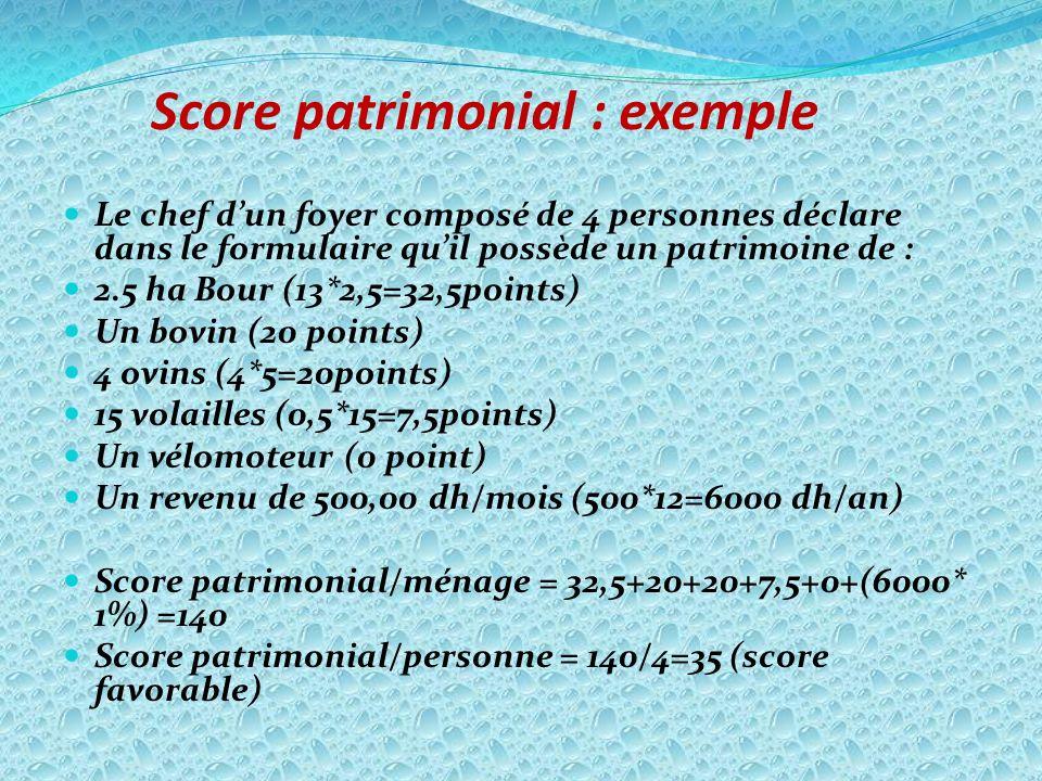 Score patrimonial : exemple Le chef dun foyer composé de 4 personnes déclare dans le formulaire quil possède un patrimoine de : 2.5 ha Bour (13*2,5=32