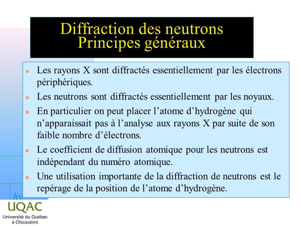 h Diffraction des neutrons Principes généraux n Les rayons X sont diffractés essentiellement par les électrons périphériques.