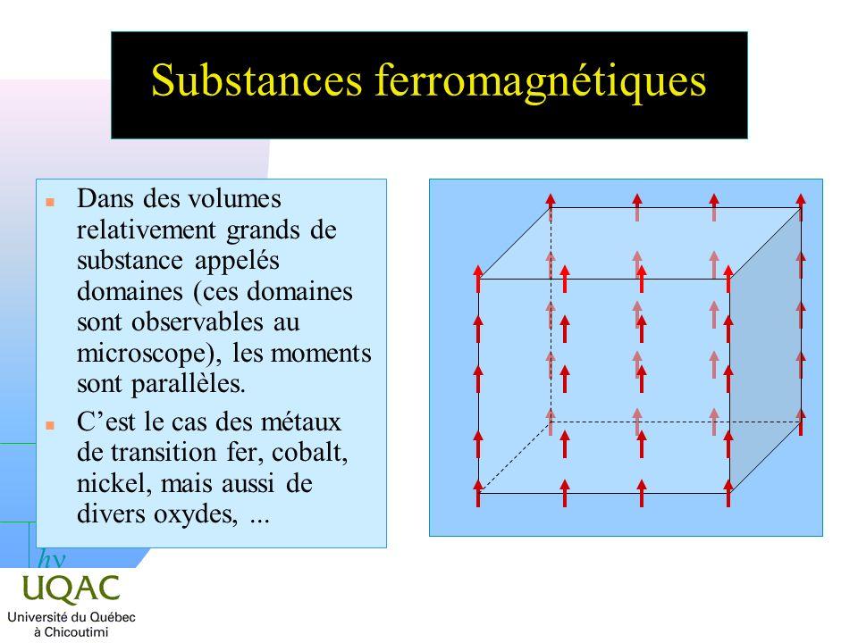 h Substances ferromagnétiques n Dans des volumes relativement grands de substance appelés domaines (ces domaines sont observables au microscope), les moments sont parallèles.