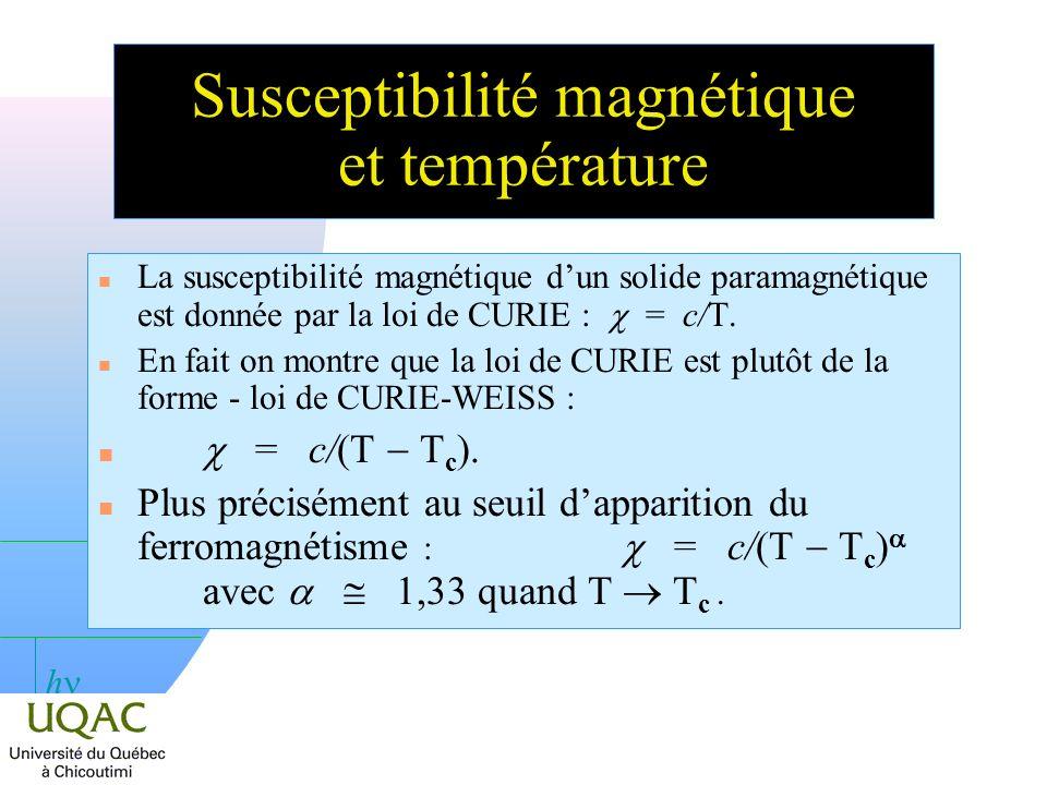 h Susceptibilité magnétique et température La susceptibilité magnétique dun solide paramagnétique est donnée par la loi de CURIE : = c/T.