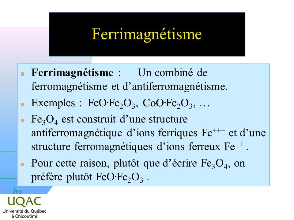 h Ferrimagnétisme n Ferrimagnétisme :Un combiné de ferromagnétisme et dantiferromagnétisme.