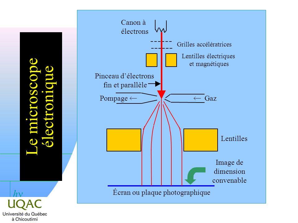 h Le microscope électronique Canon à électrons Grilles accélératrices Lentilles électriques et magnétiques Gaz Pompage Lentilles Écran ou plaque photographique Image de dimension convenable Pinceau délectrons fin et parallèle