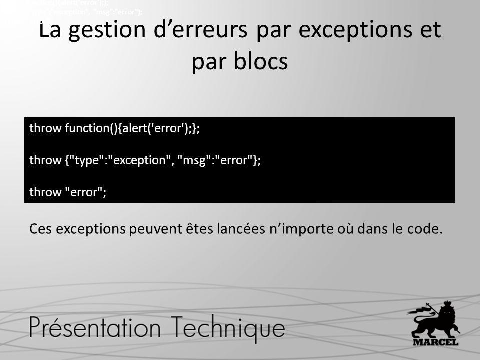 La gestion derreurs par exceptions et par blocs Ces exceptions peuvent êtes lancées nimporte où dans le code.