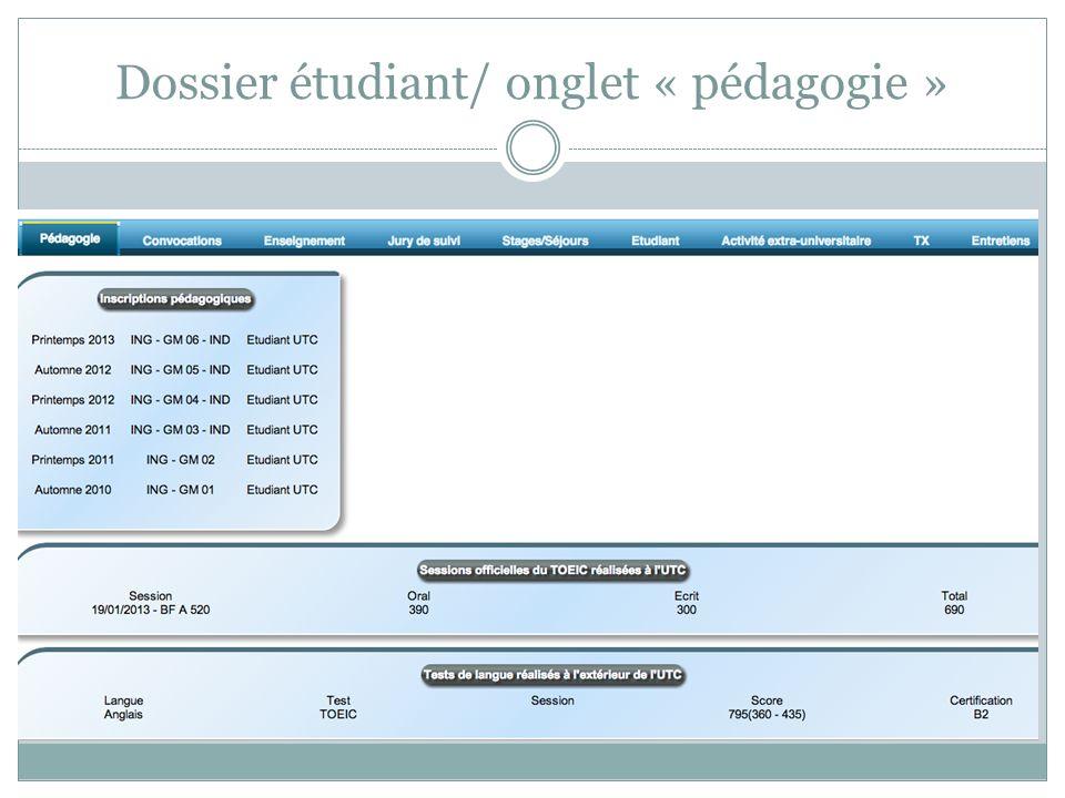 Dossier étudiant/ onglet « pédagogie »