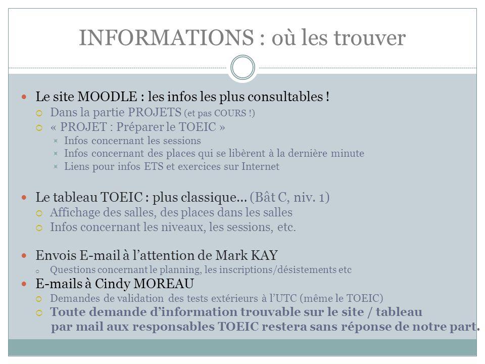 INFORMATIONS : où les trouver Le site MOODLE : les infos les plus consultables .