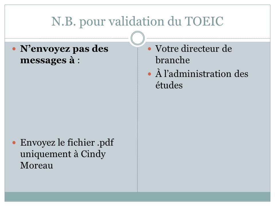 N.B. pour validation du TOEIC Nenvoyez pas des messages à : Envoyez le fichier.pdf uniquement à Cindy Moreau Votre directeur de branche À ladministrat