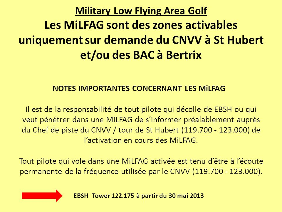 Military Low Flying Area Golf Les MiLFAG sont des zones activables uniquement sur demande du CNVV à St Hubert et/ou des BAC à Bertrix NOTES IMPORTANTES CONCERNANT LES MiLFAG Il est de la responsabilité de tout pilote qui décolle de EBSH ou qui veut pénétrer dans une MiLFAG de sinformer préalablement auprès du Chef de piste du CNVV / tour de St Hubert (119.700 - 123.000) de lactivation en cours des MiLFAG.