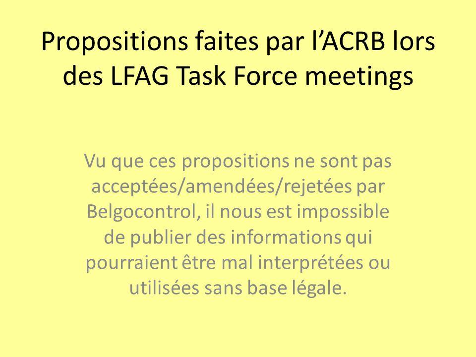 Propositions faites par lACRB lors des LFAG Task Force meetings Vu que ces propositions ne sont pas acceptées/amendées/rejetées par Belgocontrol, il nous est impossible de publier des informations qui pourraient être mal interprétées ou utilisées sans base légale.