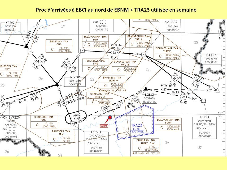 Proc darrivées à EBCI au nord de EBNM + TRA23 utilisée en semaine