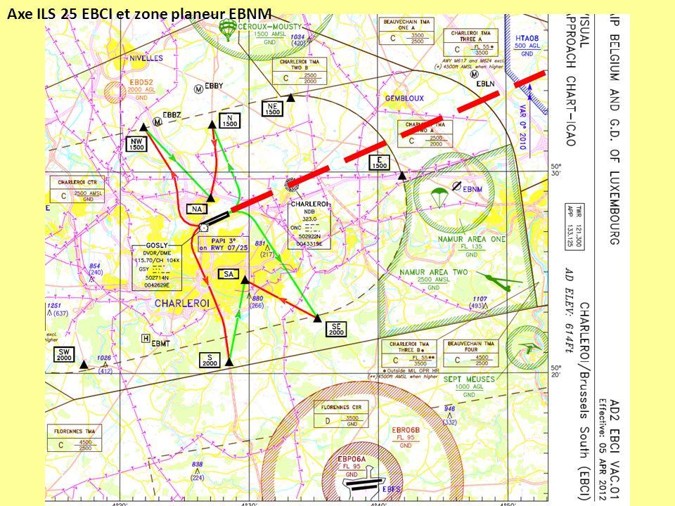 Axe ILS 25 EBCI et zone planeur EBNM