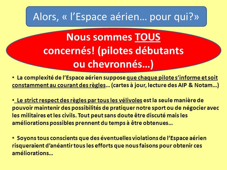 La complexité de lEspace aérien suppose que chaque pilote sinforme et soit constamment au courant des règles… (cartes à jour, lecture des AIP & Notam…