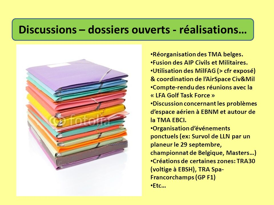 Discussions – dossiers ouverts - réalisations… Réorganisation des TMA belges. Fusion des AIP Civils et Militaires. Utilisation des MilFAG (> cfr expos