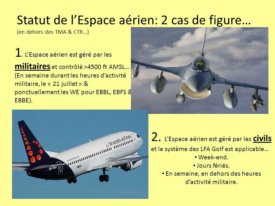 Statut de lEspace aérien: 2 cas de figure… (en dehors des TMA & CTR…) 1. LEspace aérien est géré par les militaires et contrôlé >4500 ft AMSL… (En sem