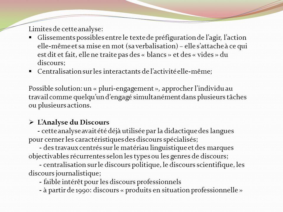 Limites de cette analyse: Glissements possibles entre le texte de préfiguration de lagir, laction elle-même et sa mise en mot (sa verbalisation) – ell