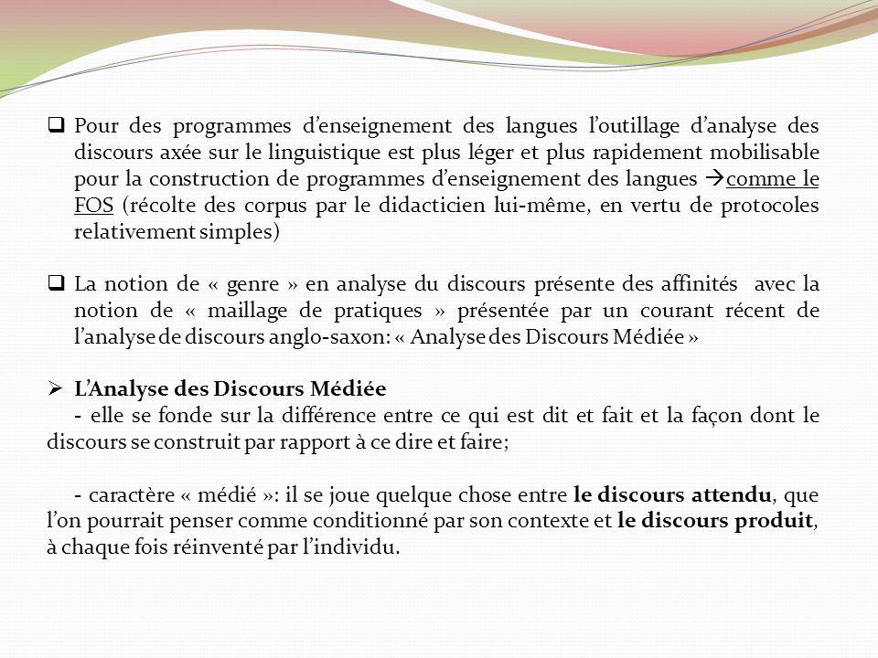 Pour des programmes denseignement des langues loutillage danalyse des discours axée sur le linguistique est plus léger et plus rapidement mobilisable