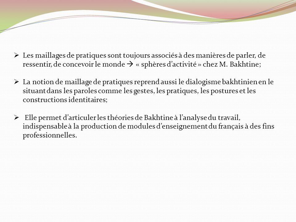 Les maillages de pratiques sont toujours associés à des manières de parler, de ressentir, de concevoir le monde « sphères dactivité » chez M. Bakhtine