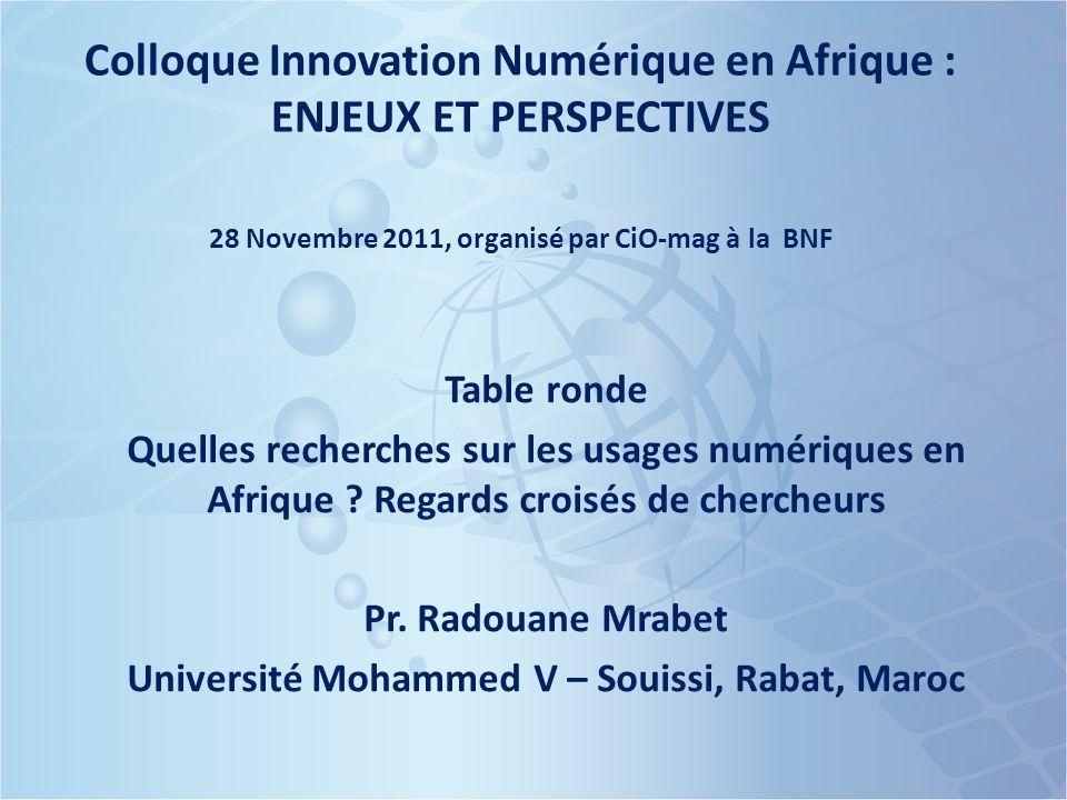Colloque Innovation Numérique en Afrique : ENJEUX ET PERSPECTIVES 28 Novembre 2011, organisé par CiO-mag à la BNF Table ronde Quelles recherches sur les usages numériques en Afrique .