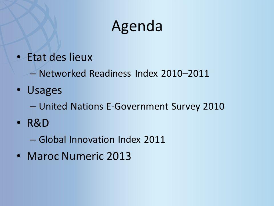 The Global Information Technology Report 2010–2011 Le Forum économique mondial publie annuellement son rapport relatif aux technologies de l information et de la communication (TIC) au niveau mondial « The Global Information Technology Report ».