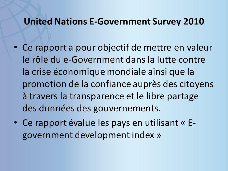 United Nations E-Government Survey 2010 Ce rapport a pour objectif de mettre en valeur le rôle du e-Government dans la lutte contre la crise économique mondiale ainsi que la promotion de la confiance auprès des citoyens à travers la transparence et le libre partage des données des gouvernements.