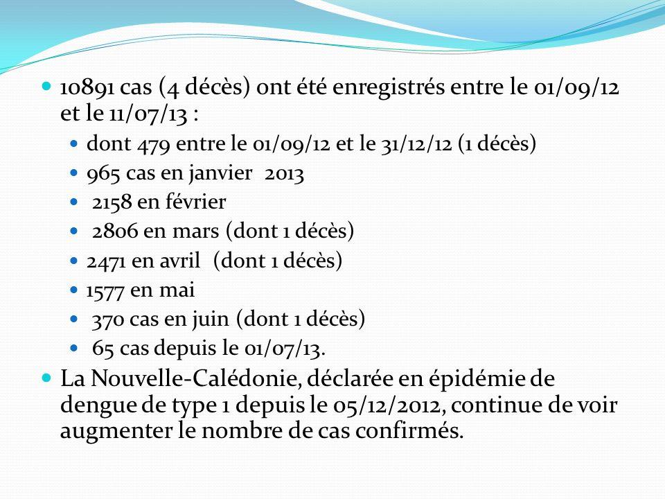 10891 cas (4 décès) ont été enregistrés entre le 01/09/12 et le 11/07/13 : dont 479 entre le 01/09/12 et le 31/12/12 (1 décès) 965 cas en janvier 2013