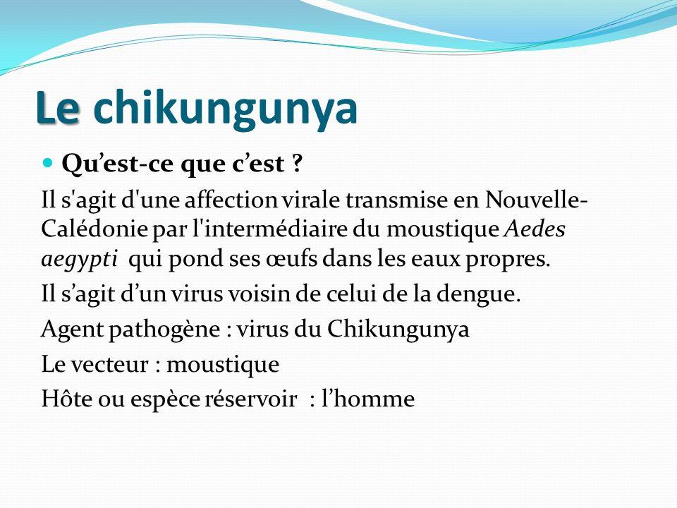 Le Le chikungunya Quest-ce que cest ? Il s'agit d'une affection virale transmise en Nouvelle- Calédonie par l'intermédiaire du moustique Aedes aegypti